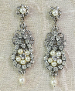 Chandelier Earrings Vintage style, Rhinestone earrings,deco - Lia