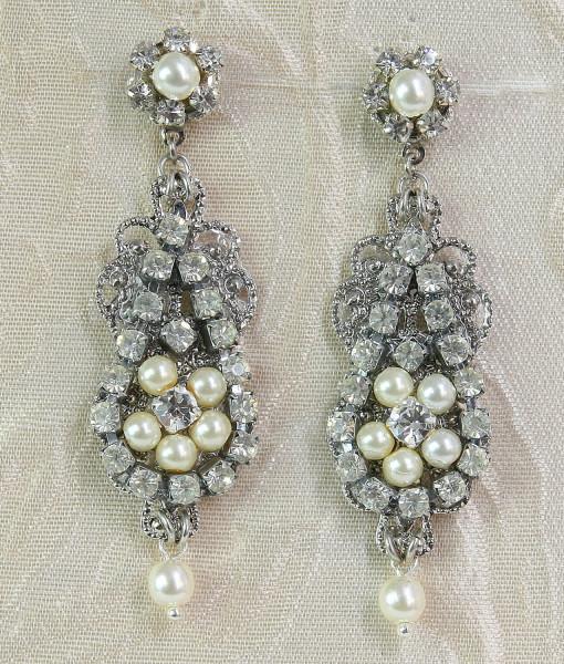 Chandelier Earrings Vintage style, Rhinestone earrings,deco – Lia