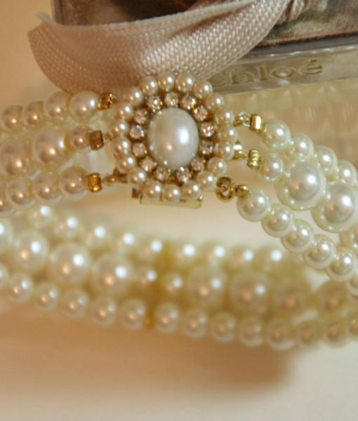 Wedding Pearl Bracelet,Bridal Statement,Swarovski,gold – Heather