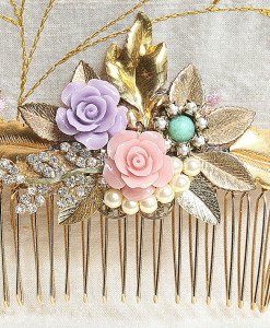 Shabby Chic Hair Comb,colorful hair comb,pink,silver,gold