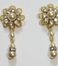 Vintage gold rhinestone Bridal Earrings,Wedding Rhinestone earrings -Fern