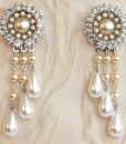 Bridal Victorian Chandelier Earrings, Stunning Wedding earrings with pearl and rhinestones