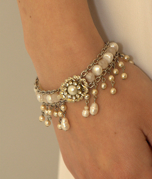 Bridal victorian Bracelet,Vintage Wedding,Swarovski,Romantic – Belle