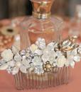 Wedding Flowered Hair Comb, Bridal Flowers, Silver, pearl
