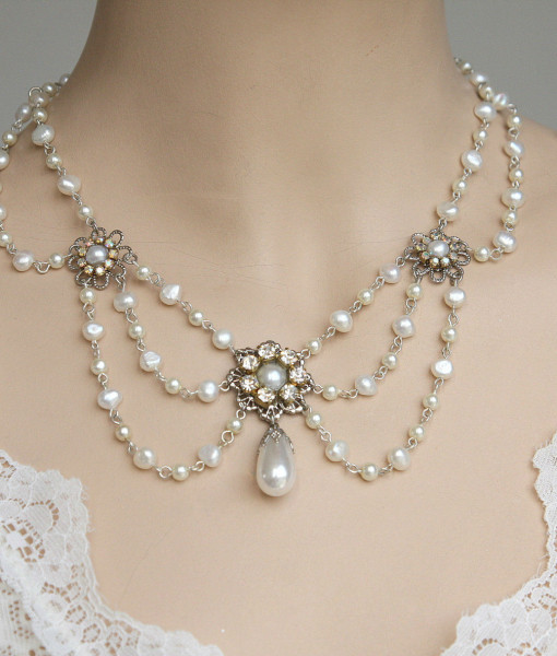 Victorian Bridal Necklace,Weddng pearl Necklace – Florence