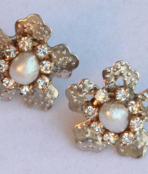 Real Pearls Rhinestone Earrings,Star Silver Earrings,Shinny – Birkin